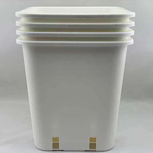 Topf 1 maceta robusta blanca cuadrada de 23 x 23 x 26 cm de 11 litros con patrón de flores, grande y estable, 11 l, cilindro de tomate de 14 litros, cuadrado