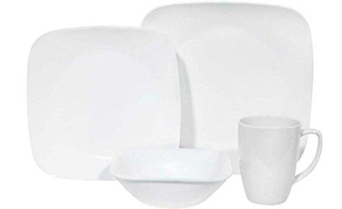 Corelle Square 16-Piece Dinnerware Set, Pure White, Service for 4