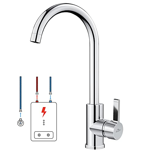 Auralum Niederdruck Wasserhahn Einhebel Spültischarmatur Küche Armatur für Kaltwasser und einen Wasserboiler