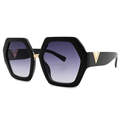 hqpaper Gafas de sol cuadradas con montura grande de moda roja de red de estrella europea y americana Gafas de sol de moda para mujer-Negro gris