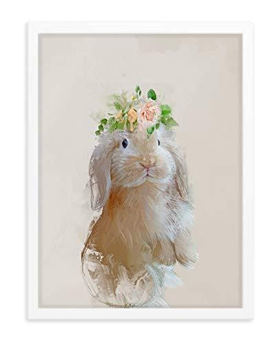 Hilltop Pixel Cute Rabbit Framed Art Print, Beautiful Wildlife Wall Art, Animal Home Decor Gift (12Wx16L)