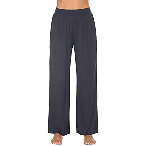Traininghosen für Frauen Hoher Taille Lose Passung Freizeithosen mit Taschen Gerade Hosen Elastische Kordelzug Traininghosen solide Farbe Baumwolle Yoga Hosen Sweathosen