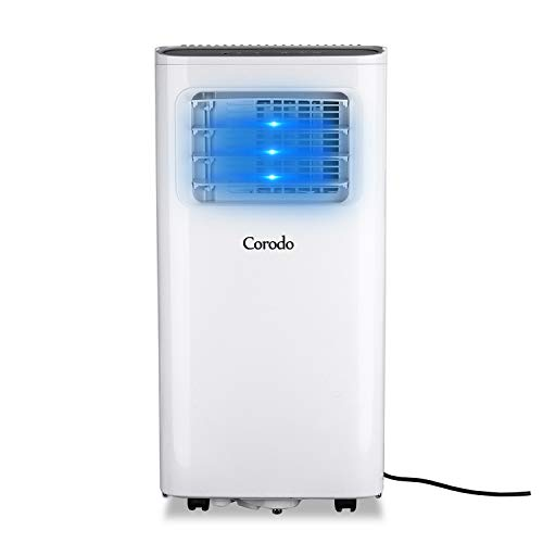 Corodo 4-in-1 mobiles Klimagerät: Luftkühler, Ventilator, Luftentfeuchter & Schlafmodus, 360 m³/h, 2050 Watt, Timer, Fernbedienung, weiß - 8000 Btu Mobile Klimaanlage
