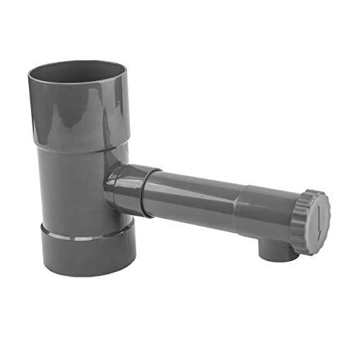 rg-vertrieb Regensammler Wassersammler Fallrohfilter Fallrohr Wasserfänger 80mm Grau