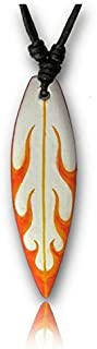 Chic-Net® Collana in legno da surfista, con onde blu, arancione, in legno di sono, in cotone, regolabile
