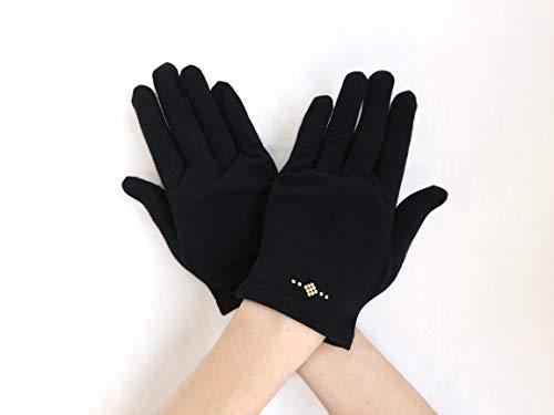 ウイルス対策 抗菌 抗ウィルス 手袋 グローブ 消臭 日焼け対策 薄手 洗える 五本指 ショート丈 ブラック Lサイズ 日本製