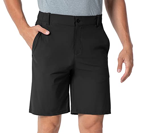 YSENTO Men's Golf Shorts Relaxed Fit Quick Dry Hiking Travel Cargo Work Shorts 5 Pockets Color Black Size 36