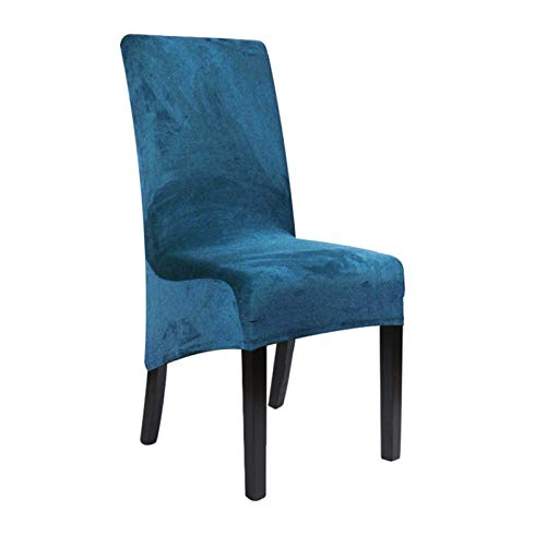 Velvet Größe XL-lang Rückseiten-Stuhl-Abdeckung Spandex Dining Chair Slipcover große elastische Stretch-Kasten for Stuhl Küche Bankett Hochzeit (Farbe : Teal Blue, Size : 1 pcs)
