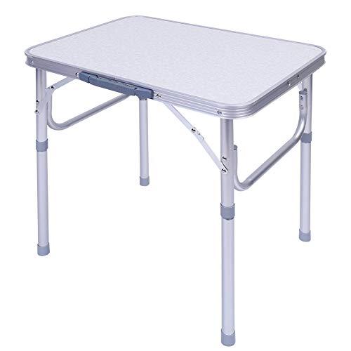 Klapptisch Klein Campingtisch Klappbar Mini Gartentisch Höhenverstellbar Buffettisch Faltbar Partytisch aus Aluminium Tisch für Camping Picknick Garten Wandern Reisen, 60 x 45 x 25-56 cm, Weiß