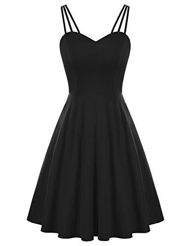 Damen Elegant Cocktail Kleid A-Linie Rückenfrei Abendkleid Schlinge corsagenkleid Schwarz XL CL0103S21-01