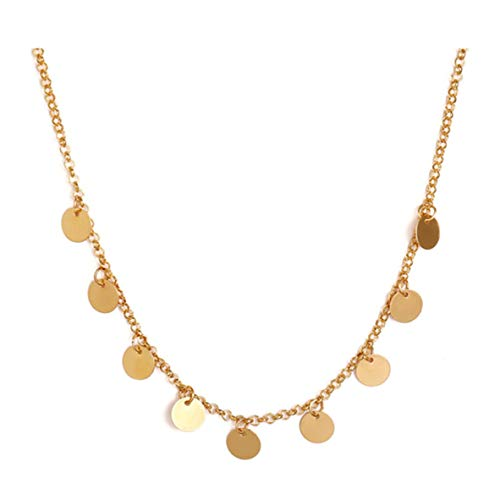 WERR Women Multi Circles Necklace in Gold Color Necklace with Round Disc Pendants