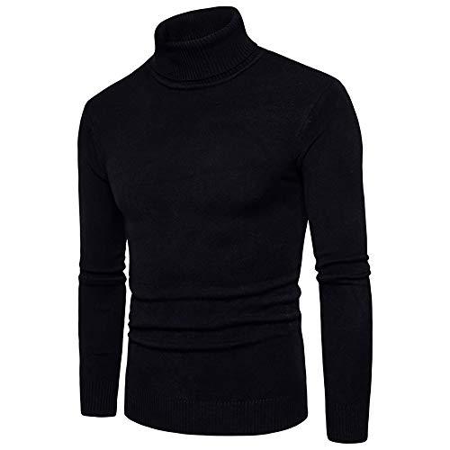 ZIYOU Männer Rollkragen Pullover, Herren Langarm T Shirts Hemd Pulli Schlanke Körper Sweatershirt Gut Aussehend Reine Farbe Herbst Winter(L,Schwarz)