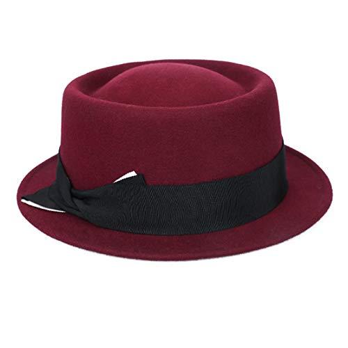 Sombrero de Copa Sombrero de Cuenca de Lana de otoño e Invierno for Damas cálidas Sombrero de Copa para Mujeres (Color : Red, Size : One Size)