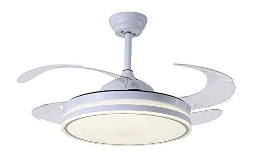 TODOLAMPARA - Ventilador de techo con luz LED 36W motor DC modelo COCON Blanco, 3 tonalidades, aspas retráctiles, 6 velocidades, control remoto, temporizador, silencioso y bajo consumo