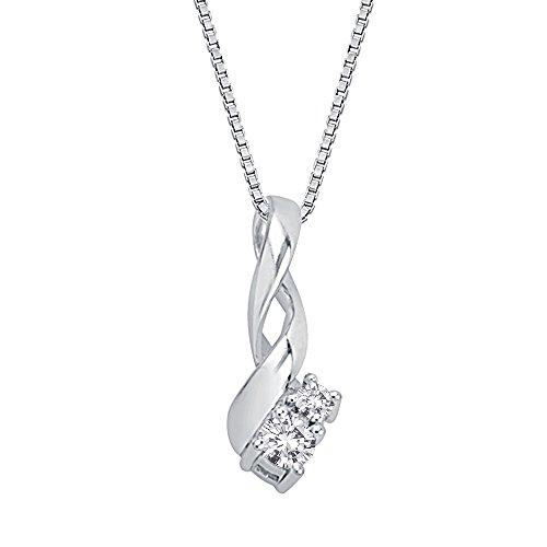 14K oro blanco 1/10CT. Diamante Moda Colgante con cadena