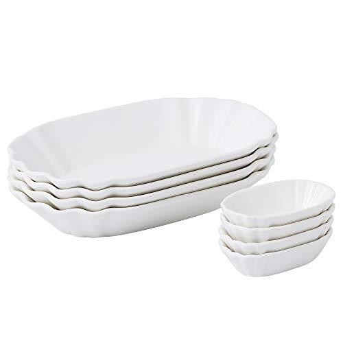 MALACASA, Serie Regular, 8-teilig Set Porzellan Schälchen, 4 Größe Pommes Schäle mit 4 Kleine Dipschälchen, Würstchenteller, Imbissschälen für Vorspeise, Nachtisch, Chips, Snacks