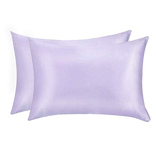 Jocoku 100% Mulberry Silk Pillowcases Set of 2 for Hair and Skin and Super Soft and Breathable Standard Size Nature Silk Pillowcases (Standard, Light Purple)