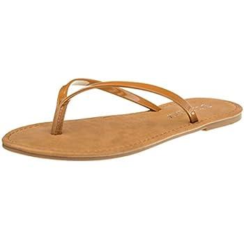 CLOVERLY Women s Summer Flat Flip Flops Slip On Sandals Shoes  10 Cognac