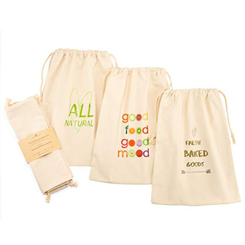 Reusable Organic Cotton Bread Bags - 3 Pack Set - Eco Friendly - Large Cotton Bread Bags for Homemade Bread - Reusable Bread Bags for Produce Storage - Drawstring Closing - Ebook - 16''x12''