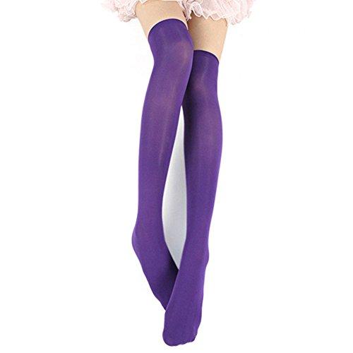 Swallowuk Damen Mädchen Mode Overknee Strümpfe Lange Kniestrümpfe Socken (Lila)