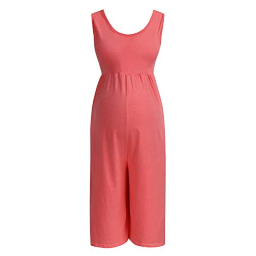 Leggings für Schwangere Umstandsleggings Damen Schwangerschafts Jumpsuit Overall Umstandsmode Playsuit Romper Freizeithose Gerade Lounge Pants (L, Rosa)