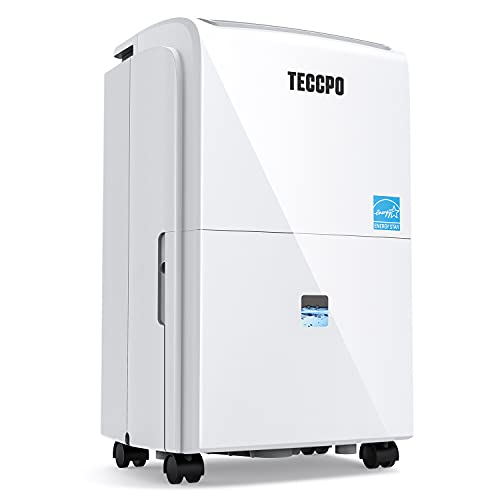 TECCPO 3000 Sq.Ft Dehumidifier, Energy Efficient Dehumidifier for Medium Rooms with 1 Gal(3.8L) Water Tank, Continuous Drainage for Basements/Bathroom