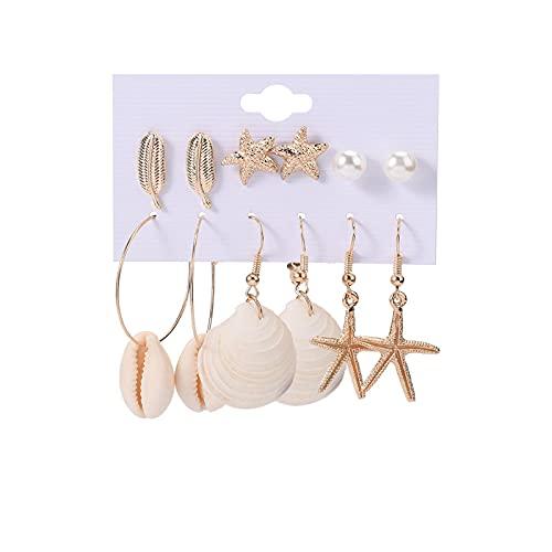 1 pieza de pendientes para mujer, pendientes de playa, estrella de mar, concha de mar