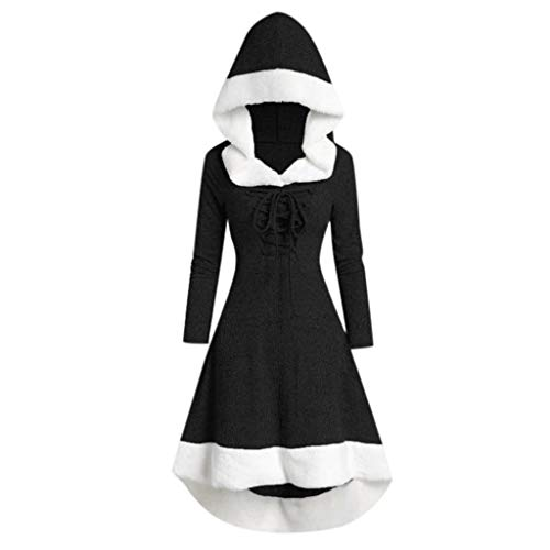 Winter Warm Hooded Dress for Womens Vintage Comfy Fashion Long Sleeve Patchwork Dress Party Dress