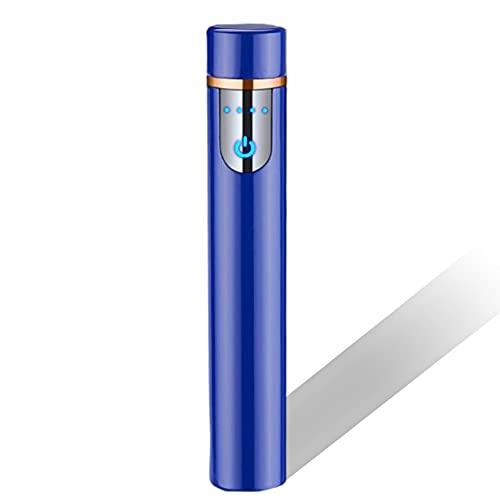 Encendedor Cigarrillos Electrónico Encendedor Táctil De Huellas Dactilares Carga USB Mini Encendedor Cilíndrico A Prueba De Viento con Indicador De Batería para Cigarrillos Al Aire Libre,G