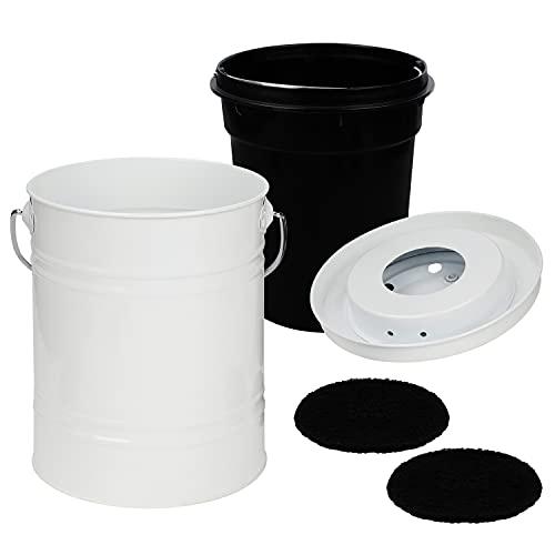 BELLE VOUS Poubelle Compost Cuisine Blanche 4 L - Composteur Cuisine en Acier Inoxydable et Étanche pour Déchets Alimentaires en Intérieur - avec 2 Filtres à Charbon et Seau de 2,9 L en Plastique