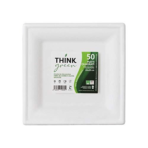 Think Green 50 Piatti Quadrati in Fibra di Canna da Zucchero 20x20cm - Ecologici, Compostabili e Biodegradabili - USA e Getta - Forno, Microonde e Congelatore Sicuro - Alternativa alla Plastica
