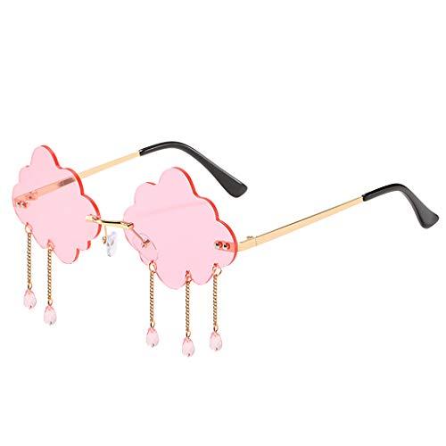 Harilla Gafas de Sol Sin Montura de Moda para Mujer, Gafas de Sol con Borlas en La Nube, Gafas para Playa, Verano, Festivales Y La Vida Diaria - Rosado