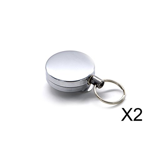 Elemart(TM) 2Pcs Full-metal Retractable Chain Pull ID Badge Key Card with Belt Loop Clasp & Key Ring Tagging Holders with Belt Clip Badge Reels for Keys-ids-badges in Silver