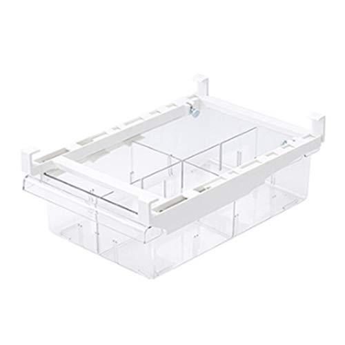Cajón organizador de la nevera Cubos organizadores de la nevera Estantería de plástico transparente Contenedores de alimentos Caja de almacenamiento extraíble (4 grids)