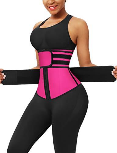 FeelinGirl Mujer Corsé Látex con Cinturones Ajustables Entrenador de Cintura Faja Lumbar Reductora con 7 Huesos Aceros Underbust con Cremallera y Velcro Waist Trainer Rosa 3XL/Talla 46