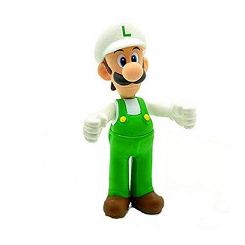 CY 18 Estilos 8-15cm Anime Super Mario Bros Bowser Koopa Yoshi Mario Maker Luigi Mushroom Peach Wario PVC Figura Juguetes Niños Regalo (sombrero blanco L)