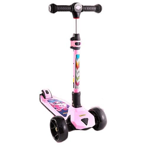 LZL Roller für Kinder Einklick-Faltkick-Roller für Kinder - einstellbare Höhe w/extraweite Deck PU-Blinkräder...