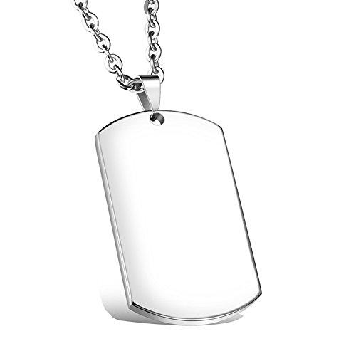 Linni Männer Frauen Kostenlose Gravur Edelstahl Plain Dog Tag Anhänger Halskette mit 24 Zoll Kette (Silber)