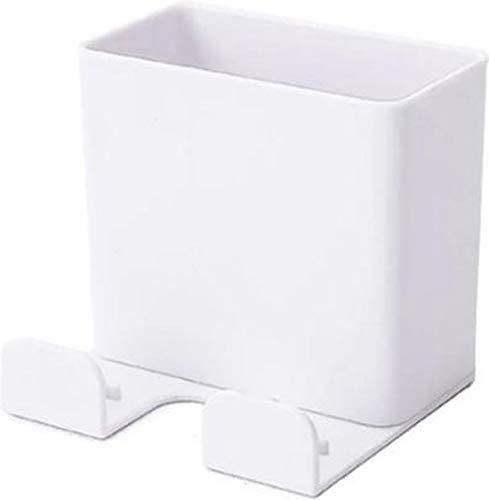 WiseGoods - Caja de almacenamiento con mando a distancia, soporte de pared para teléfono móvil, soporte de pared, soporte universal para teléfono móvil, color blanco