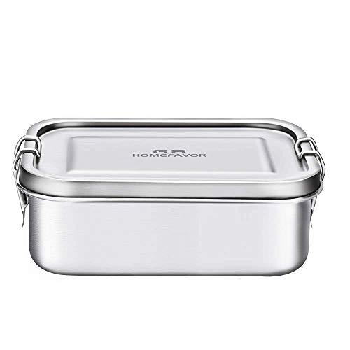 G.a HOMEFAVOR 800ml Lunch Box Bento Box in Acciaio Inossidabile per Bambini e Adulti, Contenitore Scatola per Il Pranzo a Prova di Perdite con Chiusur