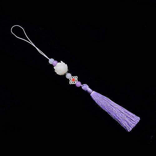 DAWEIF Mo Dao Zu Shi Cosplay Lotus Flower Tassel Pendant Keychain Chen Qing Ling Lucky Hanging Car Pendant Decoration(Purple)