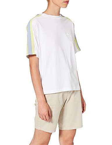 Lacoste Damen TF1402 T-Shirt, Weiß/Freesia-combava, XXS