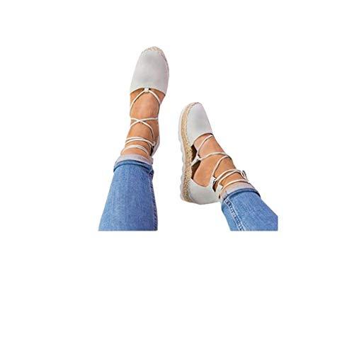 Dorical Slippers Espadrilles für Damen,Frauen Low Top Frauen Plateau 2 cm Leicht Bequem Segeltuch Elegant Flache Schuhe Schnürsenkel Freizeitschuhe Gr 35-44(Grau,39 EU)