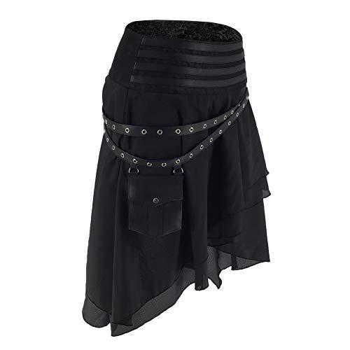 FLYFISH - Falda gótica para mujer, talla grande, estilo vintage, estilo steampunk Negro-a M (29.5W)