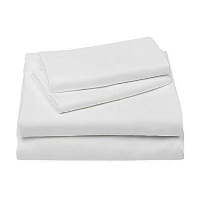 AmazonBasics Deluxe Striped Microfiber Bed Sheet Set - King, Bright White
