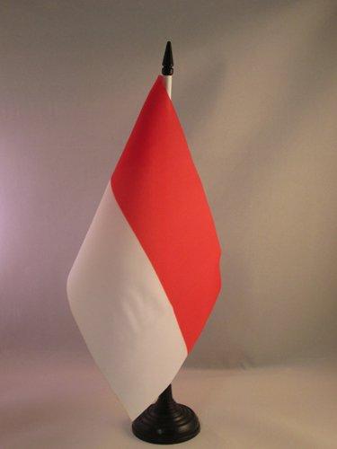 AZ FLAG Drapeau de Table Monaco 21x14cm - Petit Drapeaux DE Bureau monégasque 14 x 21 cm