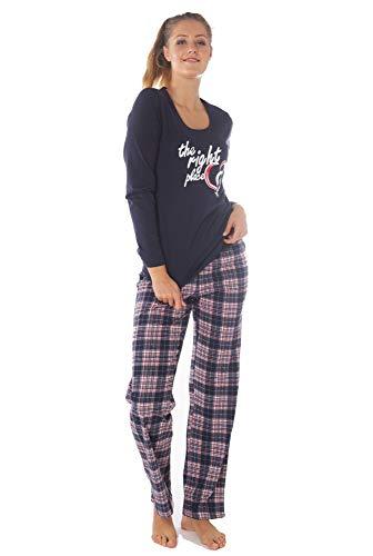 Damen Langarm Pyjama Schlafanzug Baumwolle Blau DW600 44/46
