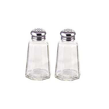 Great Credentials Salt and Pepper Shakers with Stainless Tops Set of 2 (Paneled Shakers)