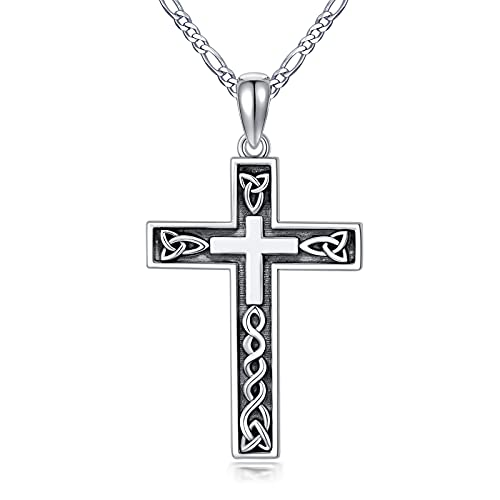 CEKAMA Oxidized Cross Necklace For Men Sterling Silver Crucifix Pendant with Celtic Knot Christian Necklace