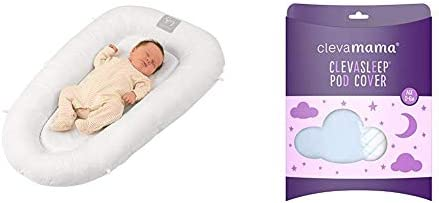 ClevaMama ClevaFoam Baby Pod and Cocoon Newborn Nest, Reducer for Cot and Crib with Protective Edges - White, 52x87 cm